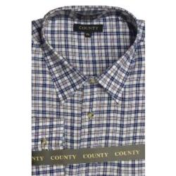 COUNTY Tattersall Brushed Check Shirt NAVY MULTI CHECK