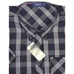 ESPIONAGE Short Sleeve Check Shirt with Chest Pocket DARK NAVY/RED/STONE 3 - 8XL