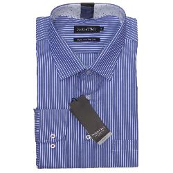 "DOUBLE TWO  PURE COTTON LONG SLEEVE PIN STRIPE SHIRT BLUE/WHITE 19 - 23"" COLLAR / 3 - 7XL"