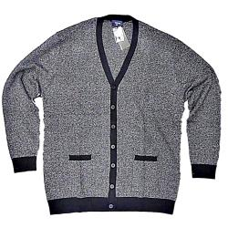 ESPIONAGE Herringbone Button up Cardigan BLACK / CHARCOAL 2 - 4XL