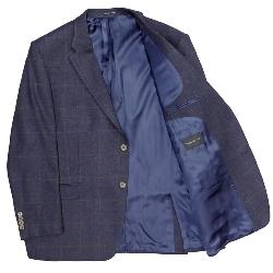 "HUGO JAMES PURE WOOL WINDOWPANE CHECK SPORTS JACKET PENTEADORA NAVY - 52 - 66"" SHORT AND REGULAR"