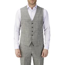 SKOPES LUXURY FINE WOOL CHECK WAISTCOAT GREY/ LILAC WINDOWPANE MAZARA