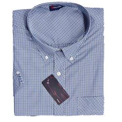 SALE - ESPIONAGE Check Casual Short Sleeve Shirt NAVY/BLUE/WHITE 3 - 8XL