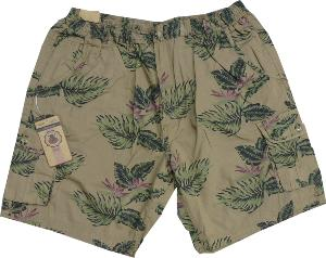 ESPIONAGE Washed Cotton Tropical Print Cargo Shorts 8xl