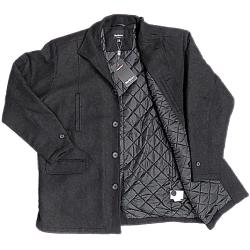 NORTH 56'4  Quilted Wool rich Overcoat DARK CHARCOAL 3-7XL