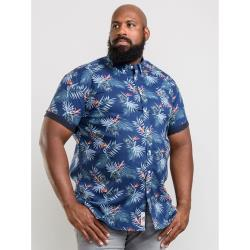 D555 KINGSIZE SHORT SLEEVE FLORAL HAWAIIAN PRINT  SOFT COTTON SHIRT  RUEBEN NAVY   3 - 8XL