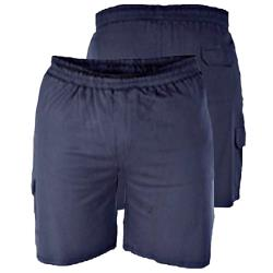 D555 LIGHTWEIGHT FLEECE COTTON JOG SHORTS WITH CARGO POCKET JOHN NAVY 2 - 8XL