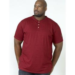 SALE - D555  TWIST YARN TEE  WITH GRANDAD COLLAR DANIEL RED  3XL