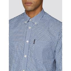 BEN SHERMAN  LONG SLEEVE GINGHAM CHECK  SHIRT BLUE  2 - 5XL