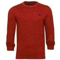 RAGING BULL COTTON CASHMERE CREW NECK SWEATER ORANGE