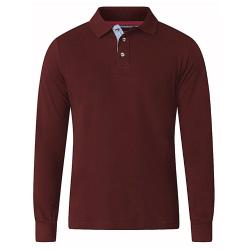 D555 BIG MENS LONG SLEEVE POLO WITH CHAMBREY PLACKET DARVIN WINE 3 - 6XL