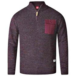 D555 ZIPPER NECK CABLE SWEATER WITH CHEST POCKET STEFON BURGUNDY 2 - 4XL