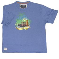 ED Baxter Natural Cotton Tee MID BLUE MARL - SURFS UP 2 - 4XL