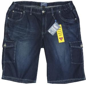 REPLIKA JEANS Vintage Washed Indigo Denim Long Cargo Shorts