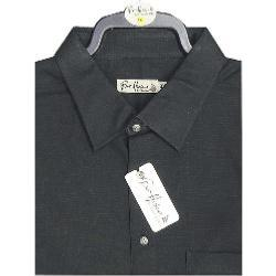 BAR HARBOUR Plain Slub Weave Short Sleeve Shirt BLACK