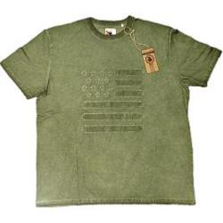 ESPIONAGE Acid Washed Tee with applique STARS AND STRIPES GREEN 4XL
