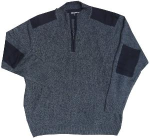 METAPHOR Casual Ribbed Knit sweater with half Zip opening NAVY MARL