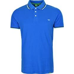 SALE - D555 PIQUE POLO WITH CONTRAST TIPPED COLLAR RACER BRIGHT BLUE  6 - 8XL