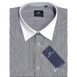 SALE - COTTON VALLEY Fine Stripe Short Sleeve with White Collar 2XL