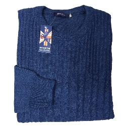 INVICTA CASUAL CABLE KNIT CREW NECK SWEATER  BLUE 2 - 5XL