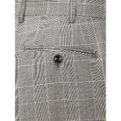 SKOPES LUXURY FINE WOOL CHECK TROUSERS GREY/ LILAC WINDOWPANE MAZARA 44  - 62""