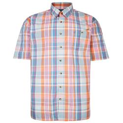 ESPIONAGE  PEACHED COTTON SHORT SLEEVE CHECK SHIRT WITH CHEST POCKET AND BUTTON DOWN COLLAR MINT/PEACH PASTEL  3 - 8XL