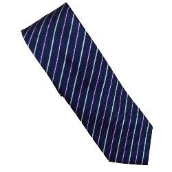 DOUBLE TWO Extra Long Tie PURPLE / NAVY STRIPE