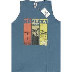 REPLIKA JEANS  Cotton Tank Top Surf Print Vest DENIM
