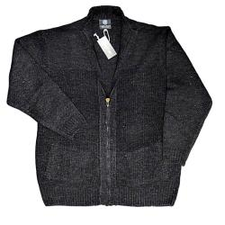 KAM Full Zipper Chunky Knit Cardigan CHARCOAL 2XL