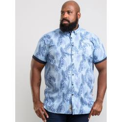 D555 KINGSIZE SHORT SLEEVE FLORAL HAWAIIAN PRINT  SOFT COTTON SHIRT  SANTANA SKY BLUE  3 - 6XL