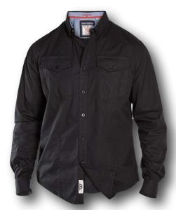 D555 Long Sleeve Cotton twill Twin Pocket Shirt BLACK LIONEL