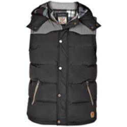 D555 Heavy Quilted Padded Bodywarmer with hood BLACK