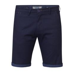 SALE - D555 STRETCH CHINO SHORTS WITH PRINTED TURN UP HEM LUKE NAVY 42 - 46""