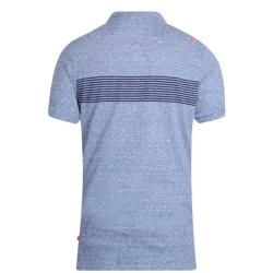 D555  SHORT SLEEVE  RENO STRIPE POLO WITH POCKET  HUNTER BLUE 2 - 6XL