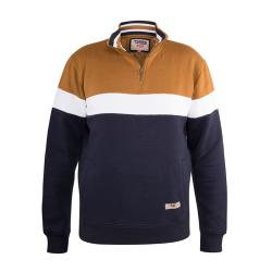 JUST ARRIVED - D555 1/4 ZIP CASUAL TOP WINSTON  TAN/NAVY  3 - 6XL