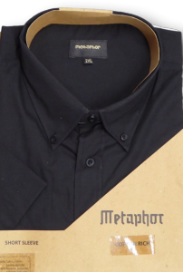 METAPHOR Cotton Rich Short Sleeved Shirt BLACK 3XL