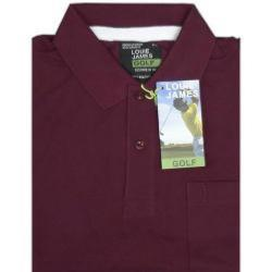 LOUIE JAMES Plain Polo Shirt with Pocket OX-BLOOD 6XL
