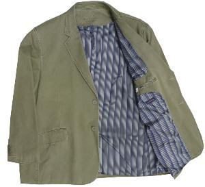 "OAKMAN Sulpher Washed Casual Cotton Sports Jacket Sage 46"" REGULAR"