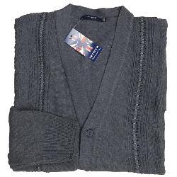 INVICTA Jacquard Button Cardigan CHARCOAL 2 - 5XL