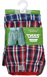 D555 Pack of Two Woven Cotton Boxers CHECK