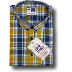 LOUIE JAMES Natural Cotton Casual Check MUSTARD