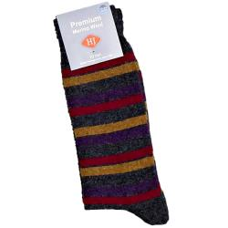 HJ Hall MERINO WOOL Large Sock LONDON STRIPED GRAPHITE 11 - 14 UK