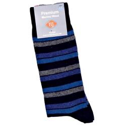 HJ Hall MERINO WOOL Sock LONDON STRIPED MIDNIGHT