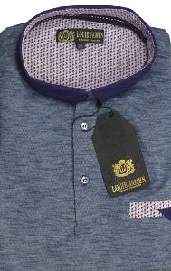 LOUIE JAMES Cotton Chambrey Polo  with Fashion collar BLUE