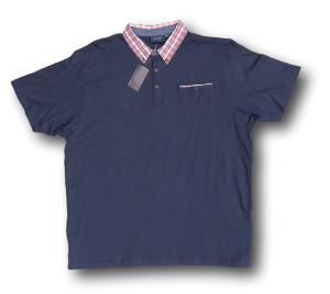 ESPIONAGE Cotton Jersey Polo with Pocket andf Tartan collar  NAVY