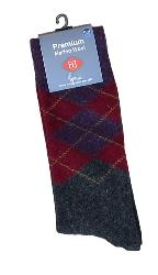 HJ Hall MERINO WOOL Large Sock ARGYLE DIAMOND HEATHER 11-14 UK