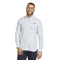 RAGING BULL NATURAL COTTON SMART-CASUAL  BLOSSOM  PRINT LONG SLEEVE SHIRT NAVY/WHITE  3 - 6XL