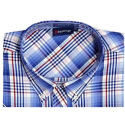 ESPIONAGE Check Casual Short Sleeve Shirt BLUE/RED/WHITE