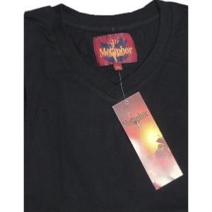 Metaphor  Vee Neck Cotton Tee Shirt BLACK 4XL