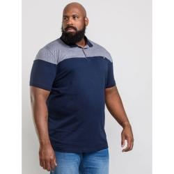 D555  CASUAL COTTON RICH POLO SHIRT WITH FABRIC YOKE   AND CHEST POCKET NAVY RIGBY 2 - 8XL